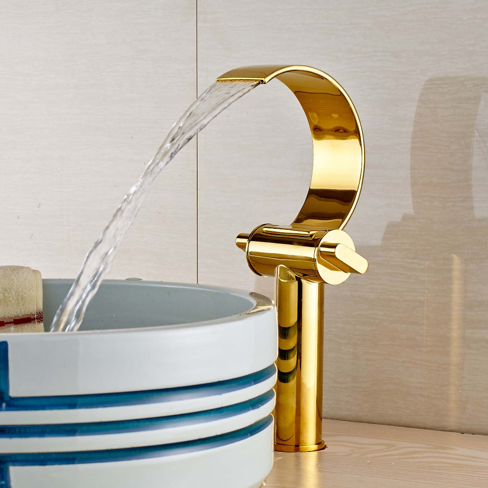 ФОТО Newly Deck Mounted Golden Solid Brass Bathroom Sink Basin Faucet  Mixer Tap Single Handle Faucet