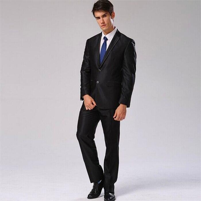 Пиджак+ брюки+ галстук+ платок) Мужской костюм Блейзер хлопковый брендовый Дизайнерский Костюм для работы, свадьбы строгие блейзеры CBJ-F1316 - Цвет: shinny black 1