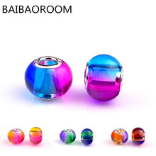 rainbow handmade lampwork glass beads colors optional large hole glass beads fit