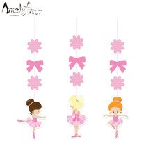 Pink Ballerina Hanging Decorations Cutout Festive Party