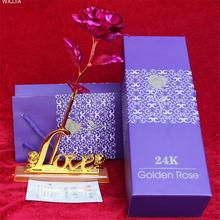 In Gift Box Gold Foil Roses With Base For Valentine's Day Romantic Rose Simulation 24k Golden Rose Nice Gift For Your Girlfriend