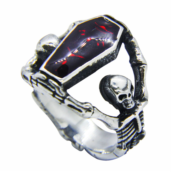 Drop Ship 2018 Popular Vampire Coffin Ring Bad Ass Mens Ladies Jewelry  Silver Cool Skull Ring With Red Epoxy