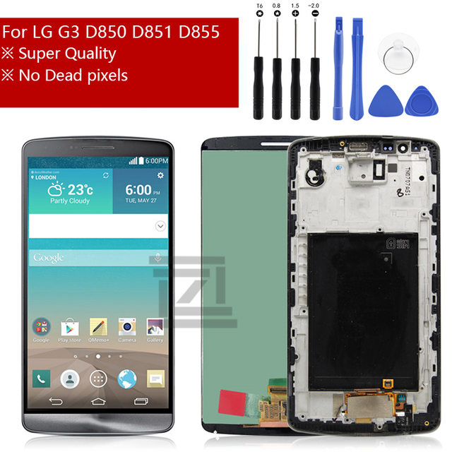 For LG G3 LCD D850 LCD Display with Touch Screen Digitizer Assembly With Frame For D851 D855 LCD repair parts Free Shipping