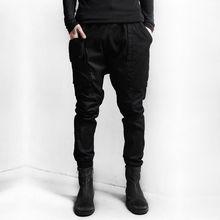 Мужская Мода Большой Карман Slim Fit Длина Лодыжки Вскользь Шаровары Брюки Черный