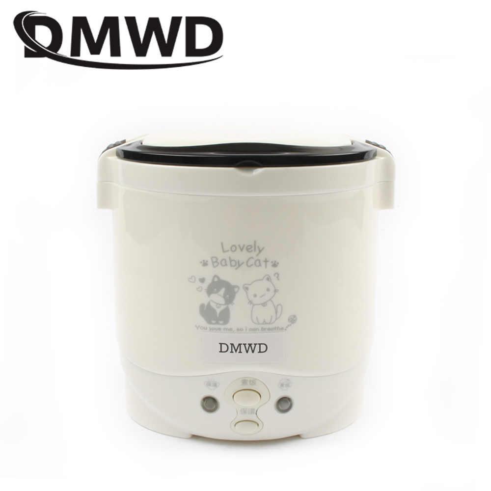 DMWD موقد صغير لطهي الأرز 1L المحمولة صندوق غداء كهربي التدفئة باخرة خزانة الغذاء الحاويات السفر خارج المنزل 110 فولت 220 فولت الاتحاد الأوروبي الولايات المتحدة