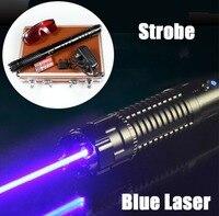 Супер мощный синий лазерные указки B970 450nm фонарик горящая спичка сухой древесины/сигареты + зарядное устройство очки