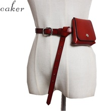 Caker Brand 2019 Women Genuine Leather Red Waist Bags Fanny Belt