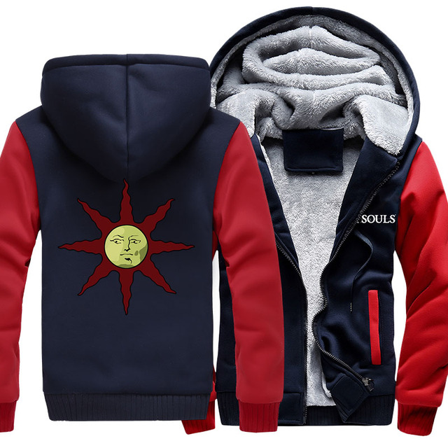 US size for Game Dark Souls Solaire of Astora Praise the Sun Cosplay Jacket Sweatshirts Thicken Hoodie Coat