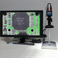 16MP HDMI USB Industrial Microscope Camera 5X 100X High Working Distance Optical Lens Table LED Light Source