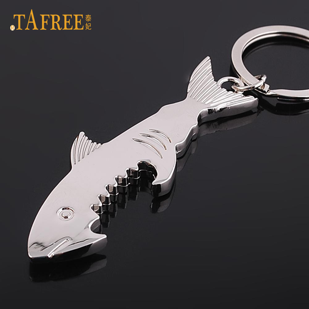 TAFREE Shark Bottle Opener Keychain Zinc Alloy Multifunction Fish Corkscrew Key Chain Jewelry Gift Key Cover Factory Promotion