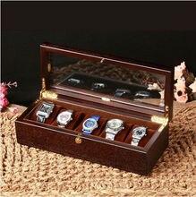 Ретро 5-сетка черный орех деревянные часы коробки деревянные часы случае со стеклянным окном коробка часов reloj patek часы MSBH004b