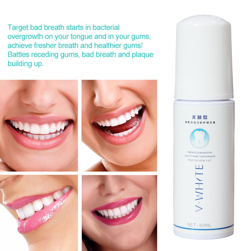 V-WHITE 60ml Teeth Whitening Toothpaste dental care Foam Natural Mouth Wash  Water Oral Hygiene for electric toothbrush