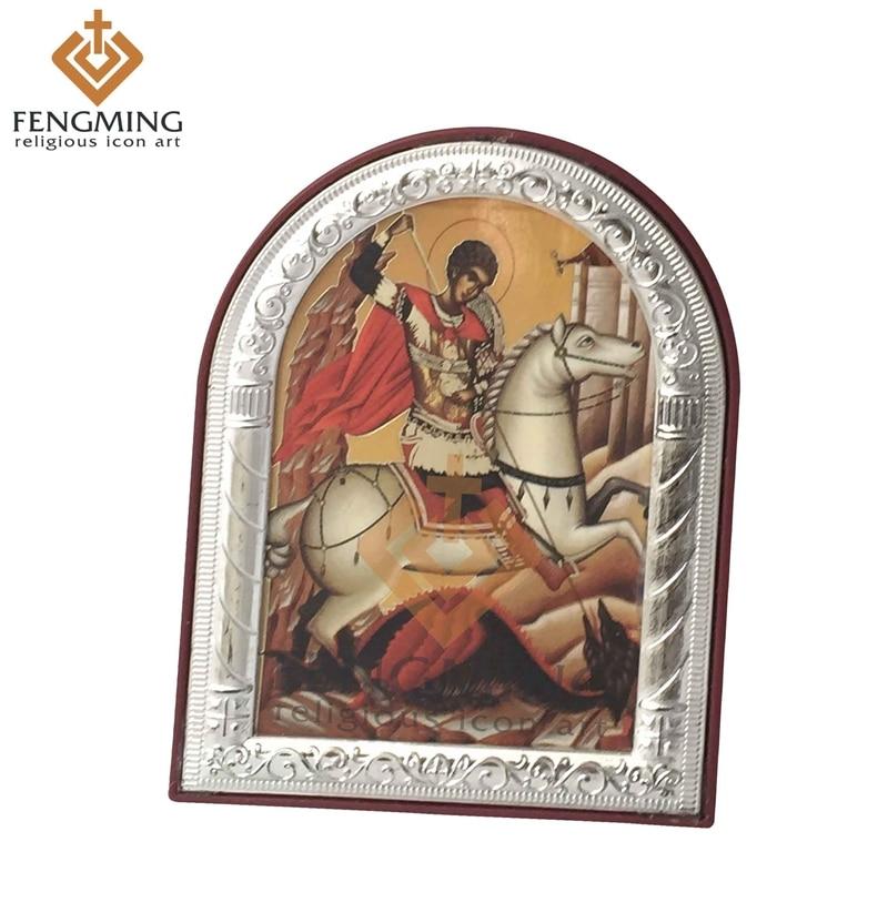 saab kohandatud 2016 Puhas pildid käsitööna valmistatud kristlik usulist katoliiklik pilt pühak George kreeka ikoon metallraami ripats