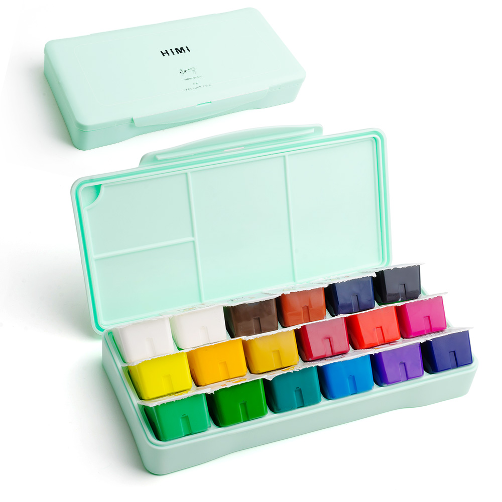 MIYA 18 Colors Gouache Paint Set  30ml Portable Case with Palette Gouache Watercolor Painting for Artists Students Non-Toxic 3