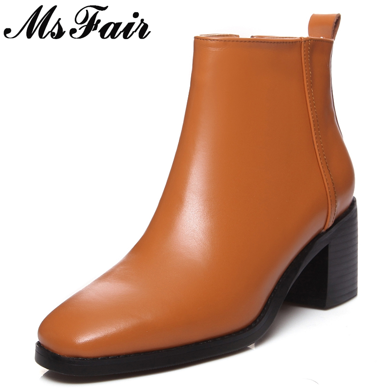 MsFair Elegant High Heel Women Boots Genuine Leather Zipper Ankle Boots Women Shoes Winter Fashion Square heel Boots Shoes Woman msfair pointed toe high heel women boots genuine leather rivet ankle boots women shoes elegant black ankle boots shoes woman
