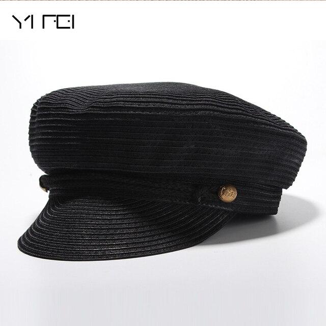 199b7f62509ea 2018 New Fashion Military Caps Sun Hat Woman Men Summer Baseball Cap  Newsboy Hat British Style Beret Sun Hat Flat Hat