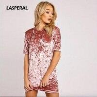 LASPERAL 2017 Spring Summer Pink Gold Velvet Dress Women Short Sleeve Casual Mini Bodycon Dress Solid