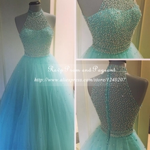 Stunning Top Beaded High Neck A-line Long Prom Dresses 2017 Real Photos Floor Length High Quality Prom Dress