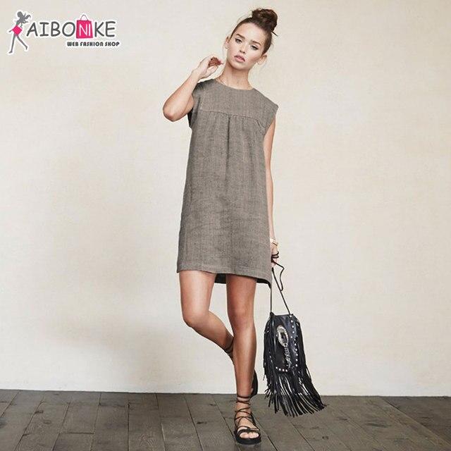 2e27bb179c Aibonike vintage dress dla kobiet o-neck retro elegantes luźne lniane  sukienki lato 2017 bez