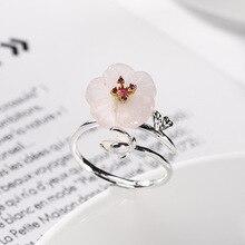 Joseph Mola 925 Sterling Silver Red Gemstone Rose Quartz Plum Flower Romantic Ring For Women Elegant Fine Jewelry Rings Gift