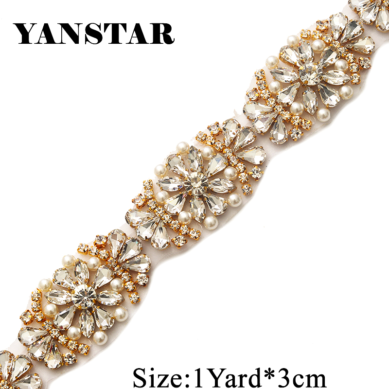 YANSTAR 1Yard Handmade Bridal Gown Sash Rhinestone Appliques Trim For  Wedding Dress Belts Rose Gold Crystal YS886-in Rhinestones from Home   Garden  on ... 287089d746f3