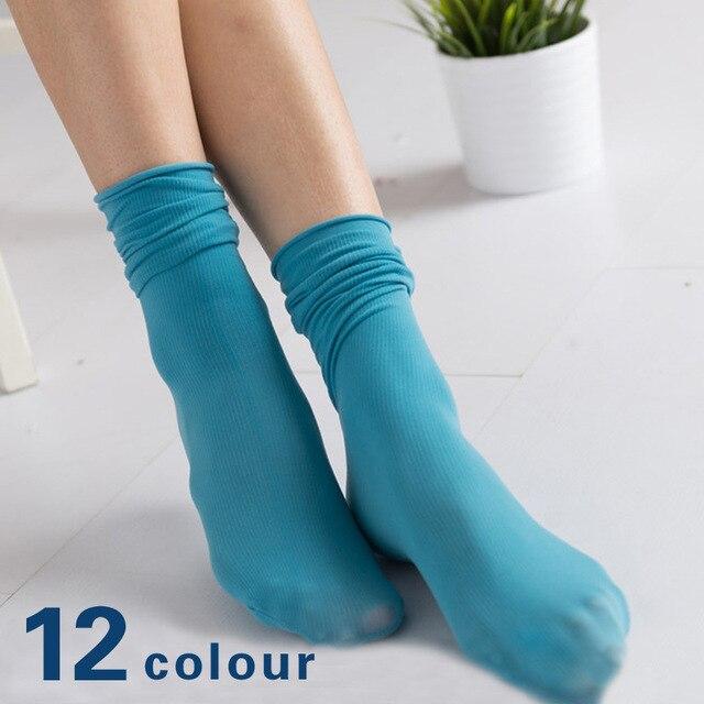 קוריאני סוכריות גרבי צבע קטיפה ערימת גרבי טבעי קפלי אביב קיץ דק צינור גרבי נשים גרבי 2019 חדש 12 צבעים