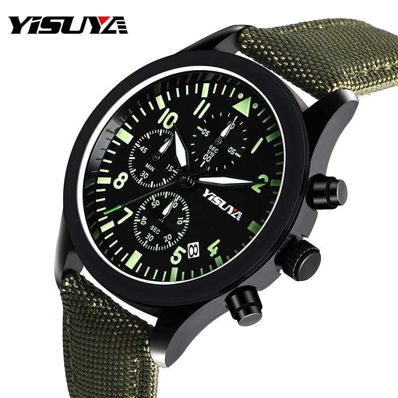 YISUYA Watch Men Chronograph Quartz Army Green Day Date Stylish Sport Man's Wristwatches Aviator Nylon Strap Relogio Masculino nuckily ns357 men s outdoor sport nylon spandex shorts army green size l