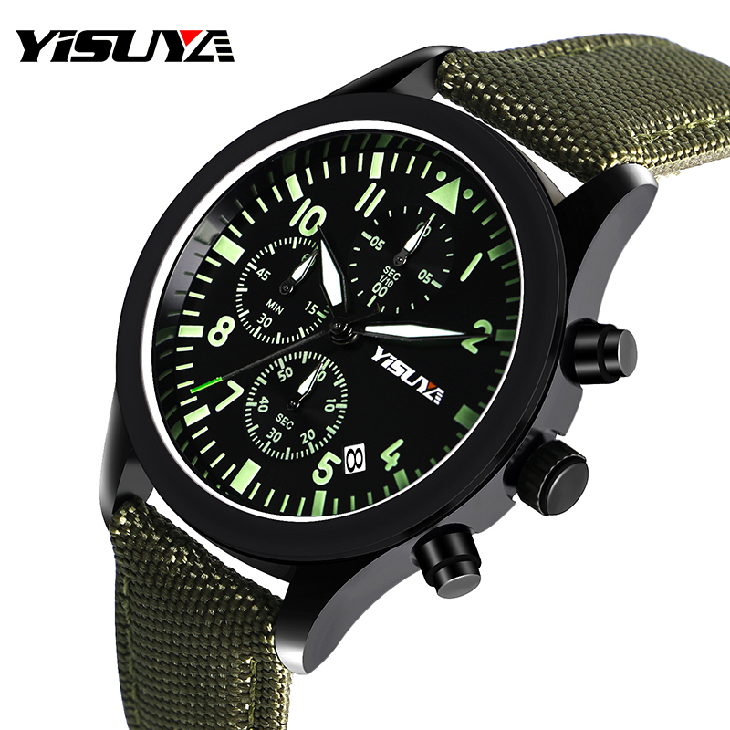 YISUYA Watch Men Chronograph Quartz Army Green Day Date Stylish Sport Man's Wristwatches Aviator Nylon Strap Relogio Masculino