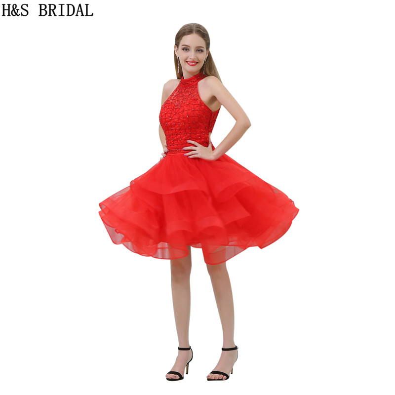 H&S High Neck   cocktail     dresses   Beading Tiered   cocktail     dress   Red Tulle robe   cocktail   2017 Sexy backless   Cocktail   Party casamento