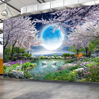 özel Duvar Duvar Kağıt Ay Kiraz çiçeği Ağacı Doğa Manzara Duvar