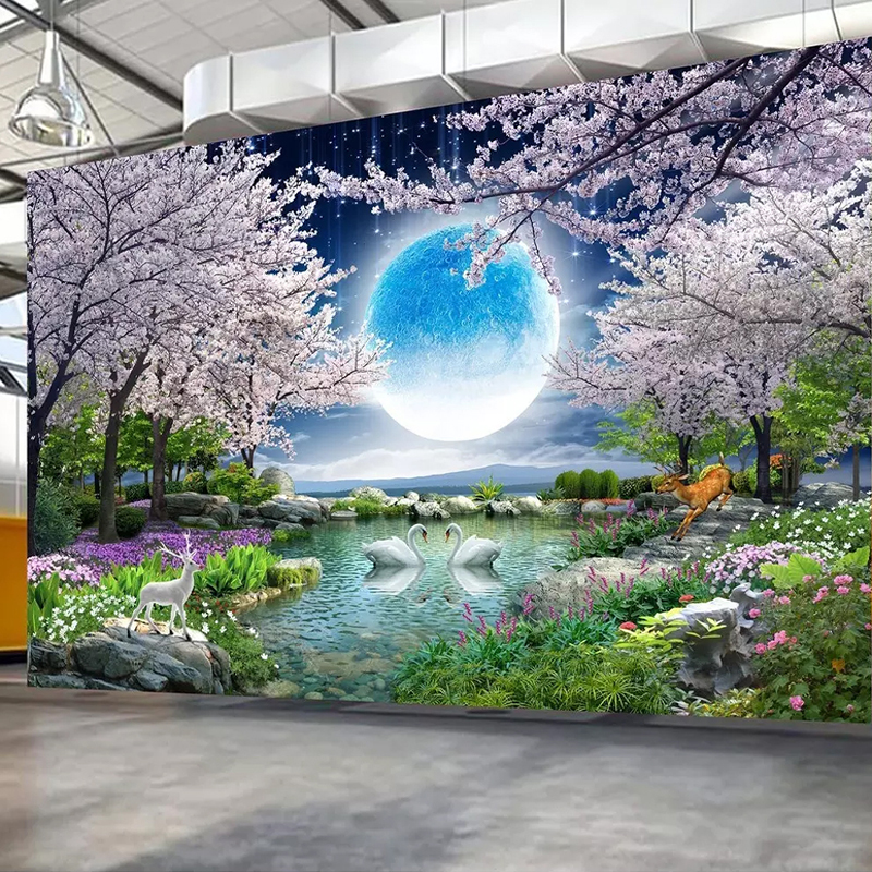 Custom Mural Wall Paper Moon Cherry Blossom Tree Nature Landscape Wall Painting Living Room Bedroom Photo Wallpaper Home DecorCustom Mural Wall Paper Moon Cherry Blossom Tree Nature Landscape Wall Painting Living Room Bedroom Photo Wallpaper Home Decor