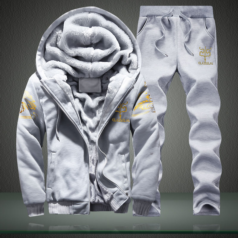 Winter Inner Fleece Hoodies Men Casual Hooded Warm Sweatshirts Male Thicken Tracksuit 2PC Jacket+Pant Men 3