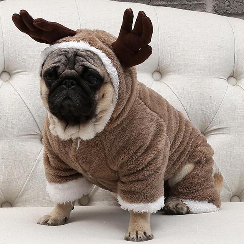 Осенне зимняя теплая флисовая одежда для маленьких собак, Рождественский костюм для собак, комбинезон, пальто для щенков, куртка, одежда для чихуахуа, Мопса Пальто и куртки для собак      АлиЭкспресс