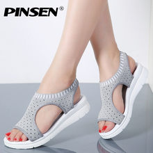 PINSEN 2019 Summer Style Fashion Women Shoes Breathable Mesh Casual Shoes Woman Slip-on Ballet Flats Laides Shoes Big Size 35-44(China)