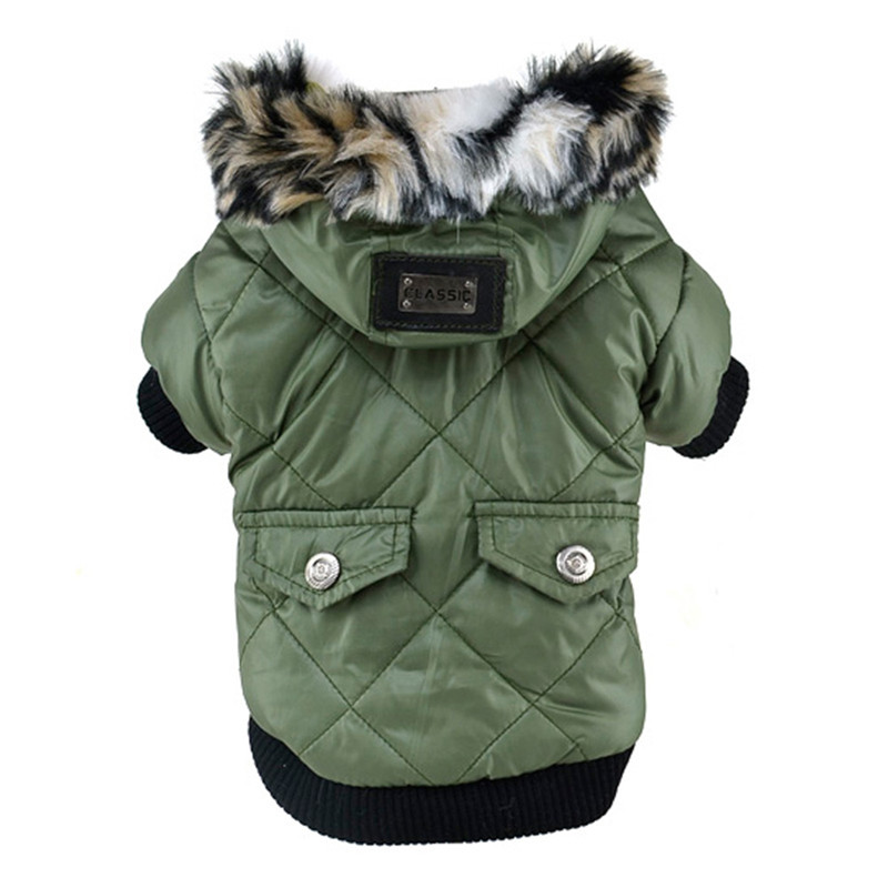 Winter Dog Clothes Large Puppy Dog Cute Warm Coat For Pet Faux Pockets Fur Trimmed Dog Hoodies Jacket Costume