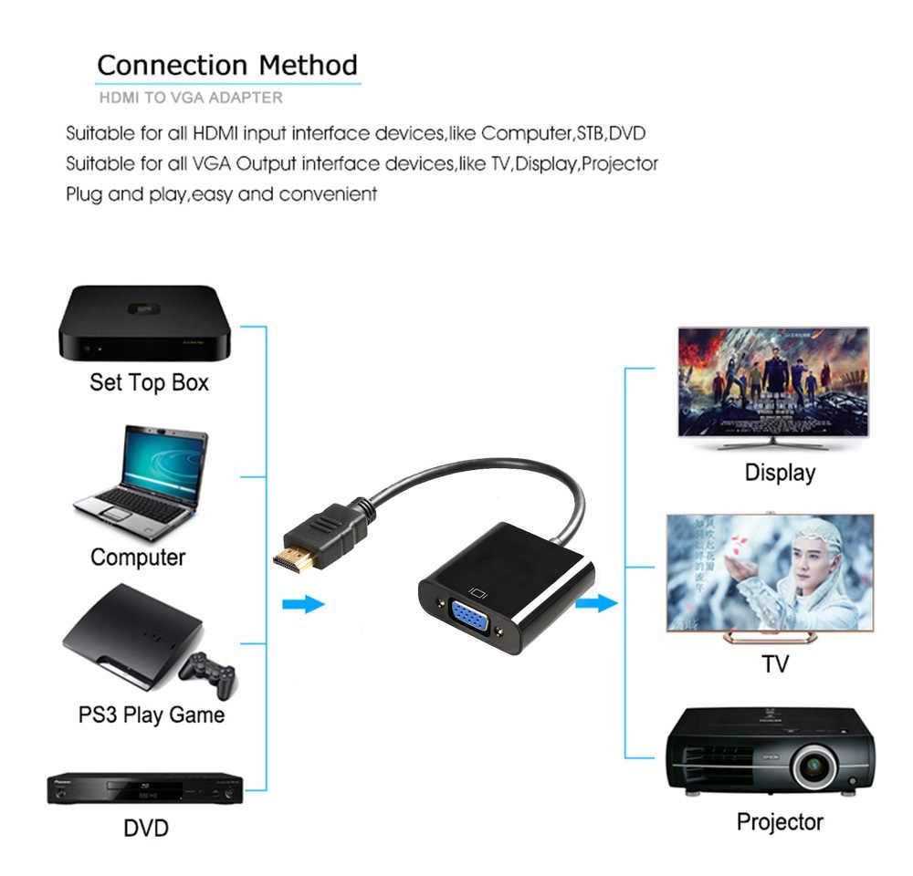 2019 Nieuwe Originele HDMI naar VGA Adapter Male Naar Famale Converter Adapter 1080P Digitale naar Analoge Video Audio Voor PC Laptop Tablet
