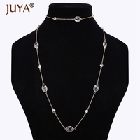 New Luxury Jewelry Silver Rose Gold Color Austria Crystal Long Sweater Necklaces Fashion Multicolor Crystal Jewelry