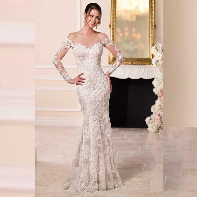 Sexy Scoop Sheer Back Apliques Beaded Mermaid Tulle Long Sleeve White Lace Wedding Dress Cheap Elegant Long Sleeve Wedding Gowns