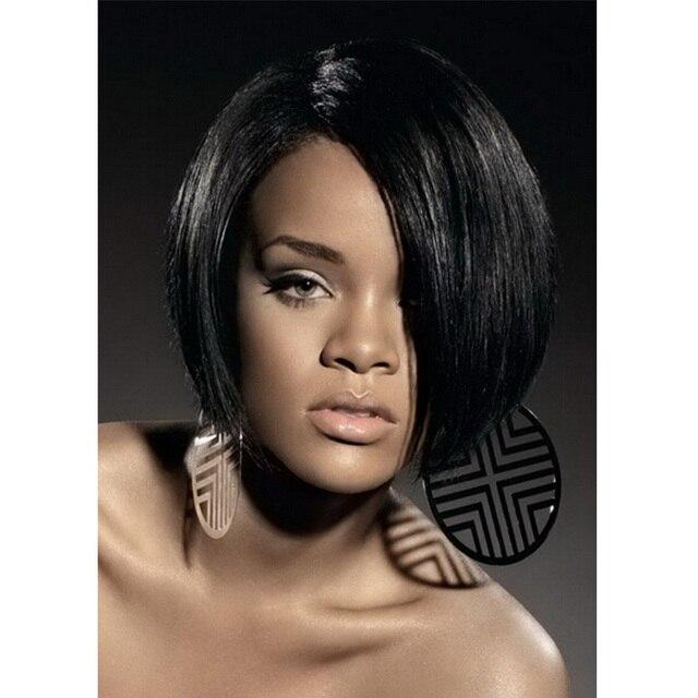 Rihana Short Straight Black Wigs Synthetic Hair For Black Women