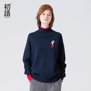 Toyouth модный вязаный пуловер с вышивкой повседневный уличная