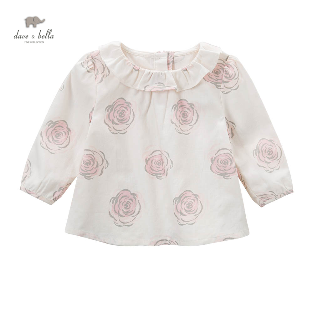 DB5039 dave bella baby girls A line tops flower printed blouses design boutique clothes high quality 2018 new arrival fashion baby boys kids blazers boy suit for weddings prom formal dark blue dress wedding boy suits
