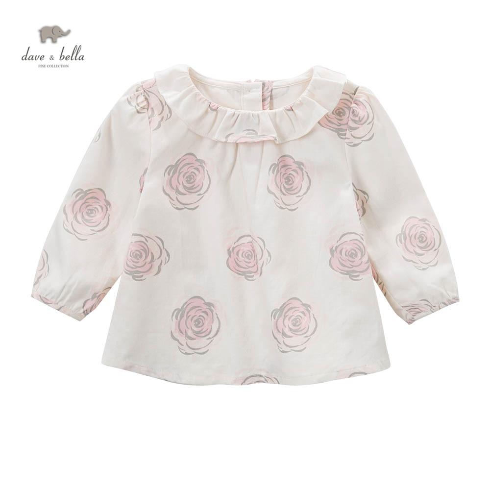 DB5039 dave bella baby girls A line tops flower printed blouses design boutique clothes кулон нефрит зеленый круг 4 5 см