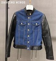 Осень короткая джинсовая куртка лоскутное овчины с длинным рукавом Для женщин Стенд воротник Однобортный шнуровке пальто