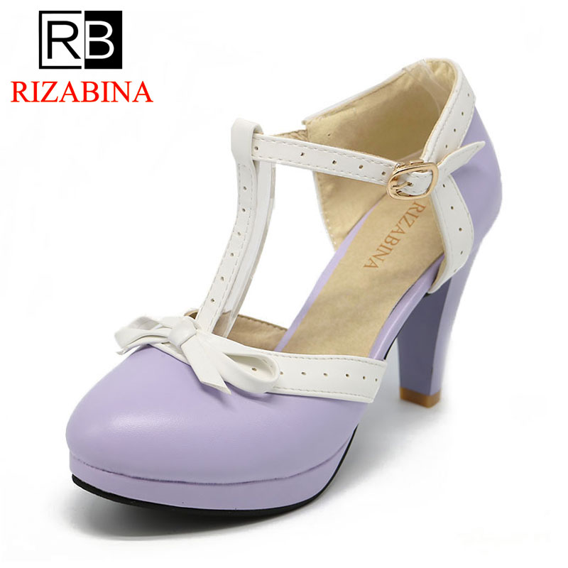 RIZABINA Size 32-48 Women High Heels Sandals bow Summer Shoes Women Platform Square Heels Sandalias Party Wedding Shoes Footwear