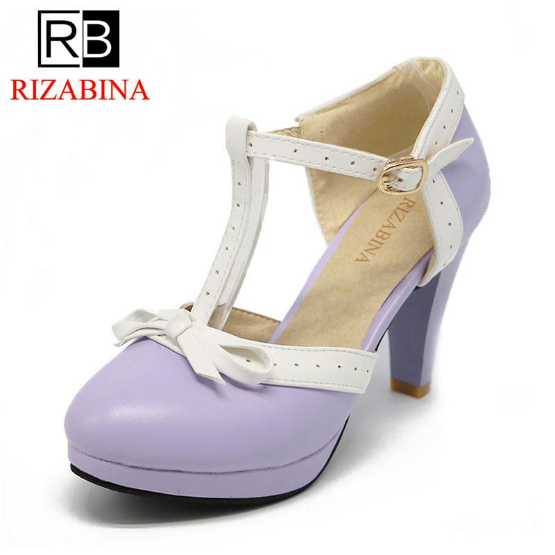 RIZABINA Size 32-48 Women High Heels Sandals bow Summer Shoes Women Platform Square Heels Sandalias Party Wedding Shoes Footwear