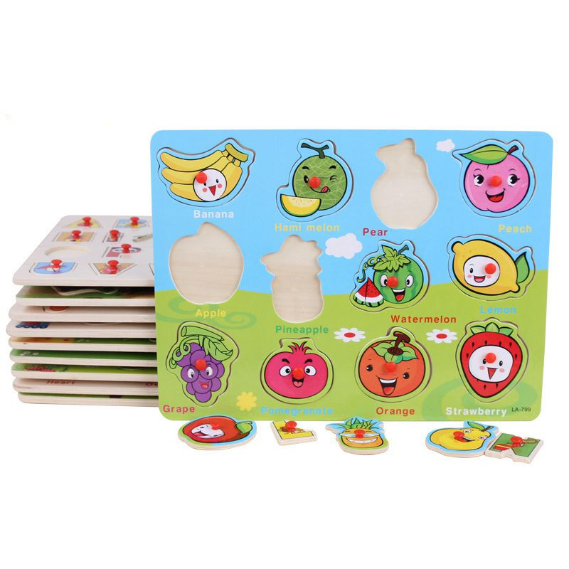 Wood Puzzles Hand Grasp Cognitive Plate Children Wooden Educational Toy Baby Puzzle Learning Education Toys Variety Optional hand grasp knob pegged puzzle wooden quality animals characters letter cognitive board children recognization toys