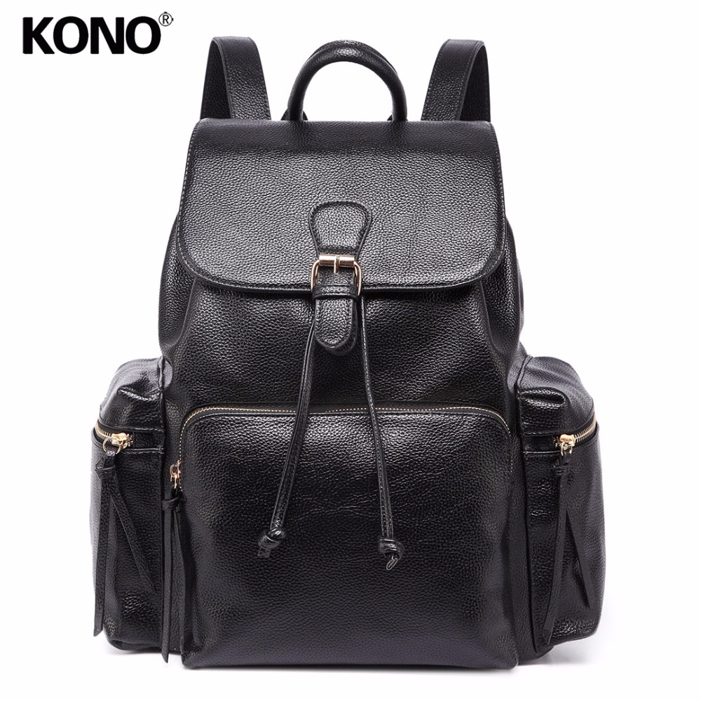 Gentle Kono Women Designer Backpack Pu Leather Big School Bags Teenagers Girls Top-handle Rucksack Shoulder Bag Casual Daypack Yd1709 Buy One Give One Luggage & Bags