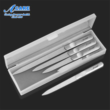 ACARE 4PCS With Box Nail File Stainless Steel Buffer Double Sided Metal Nail File For Manicure Pedicure Women Beauty Nail Tools