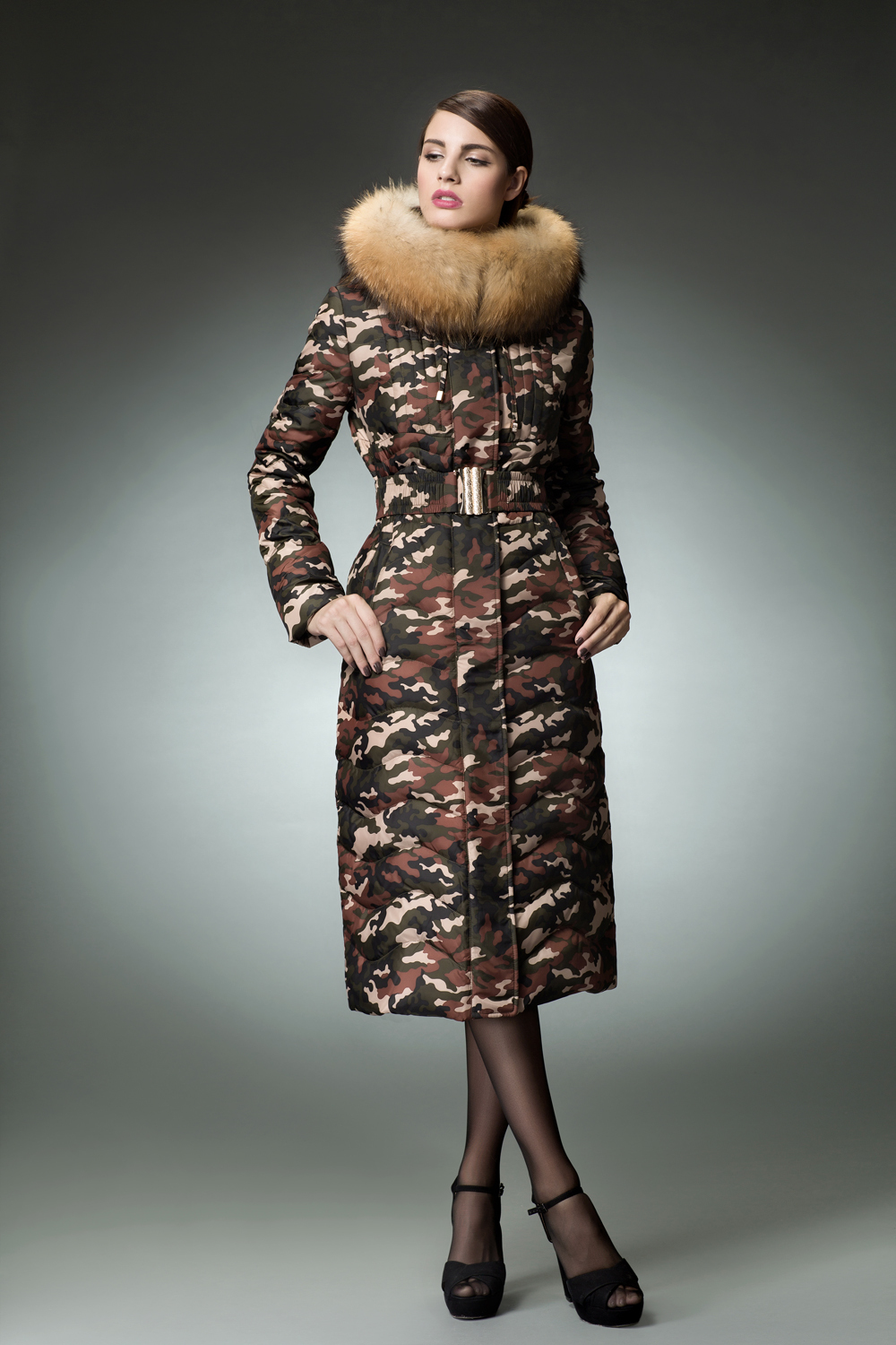 f8074a1557e 2015 Long Maxi Down Coat Forest Camouflage Long Parkas Winter Jacket ...