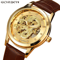 Chinese Dragon Gold Skeleton Automatic Mens Watches Top Brand Luxury Mechanical Male Wrist Watches With Leather Strap Luminous